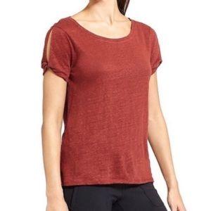 Athleta Linen Rust Tee Shirt Top Size Medium